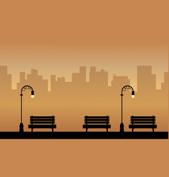 Silhouette of chair and lamp on the street vector