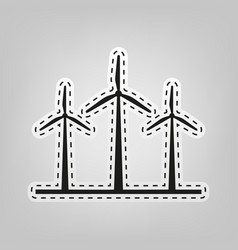 wind turbines sign  blue icon with outline vector image