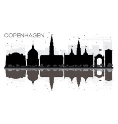 Copenhagen city skyline black and white vector