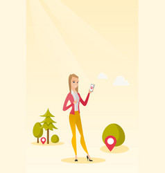 Caucasian woman playing action game on smartphone vector