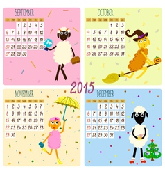 2015 calendar with cartoon and funny sheep autumn vector