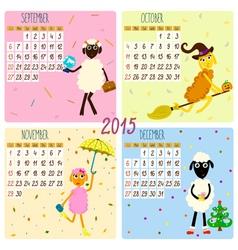 2015 calendar with cartoon and funny sheep autumn vector image