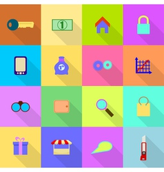 16 flat icons on a colored background vector
