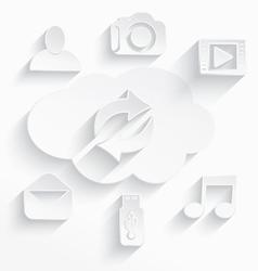 White cloud computing symbols arrows vector image