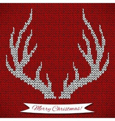 Decorative background with knitted deer horns vector
