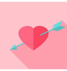Pink heart with arrow vector