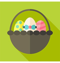 Easter basket with three eggs vector