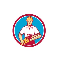 Tree surgeon holding chainsaw circle retro vector