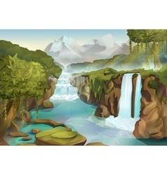 Forest and waterfall landscape vector