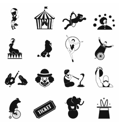 Circus simple icons set vector