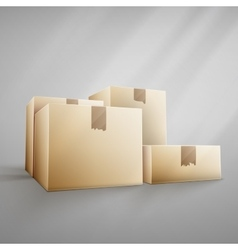 Brown delivery packaging box vector