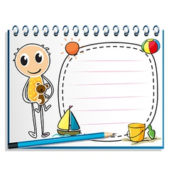 A notebook with an image of a boy holding a toy vector image vector image