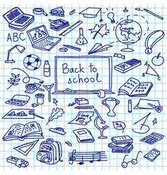 Back to school hand drawn silhouettes on squared vector