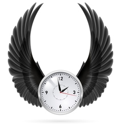 Black wings Clock vector image vector image