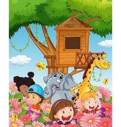 Children and animals in the garden vector