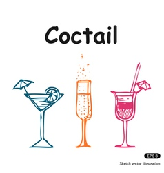 Coctails club set vector