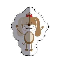 Color sticker with female dog and middle shadow vector