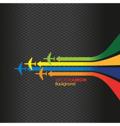 coloured plane arrow background vector image vector image