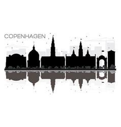 Copenhagen city skyline black and white vector