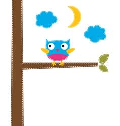 Cute owl card vector