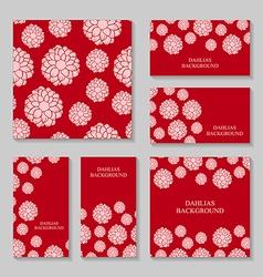 dahlia backg pink set vector image vector image