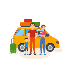 family of four went on a trip in his car vector image vector image