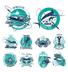 Fish symbols for fishing trip icons vector