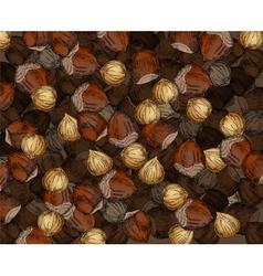 Hand drawn walnuts texture hazelnuts vector