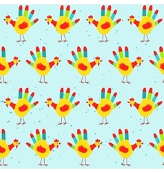 Hand print rooster design seamless pattern vector image vector image