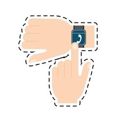 Hand touchscreen smart watch wearable technology vector