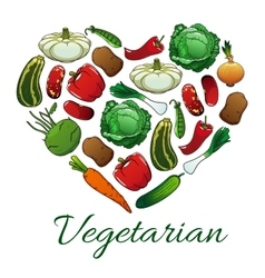 I love vegetarian heart shape emblem vector image