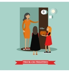 Kids playing trick or treat happy halloween vector