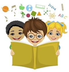 Kids reading a book with education related icons vector image