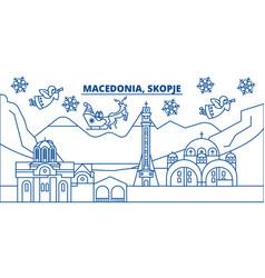 Macedonia skopje winter city skyline merry vector