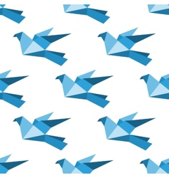 Origami pigeons and doves seamless pattern vector