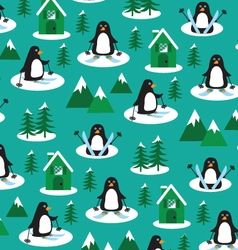 Penguins on skis vector