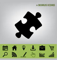 Puzzle piece sign black icon at gray vector