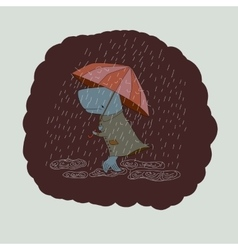 sad whale with an umbrella vector image vector image