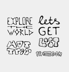 Set of text traveling slogans lettering vector