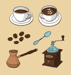 set with cups of coffee coffee beans coffee maker vector image vector image