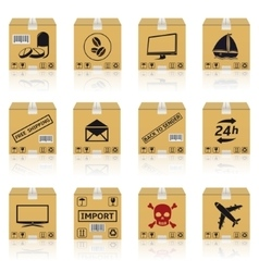 Shipping cardboard boxes icons vector image