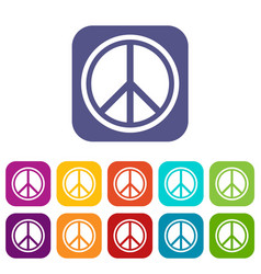 Sign hippie peace icons set vector