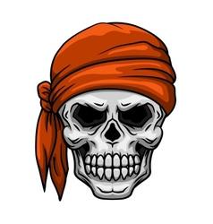 Skull in orange bandana vector image vector image