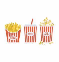 soda french fries and popcorn vector image