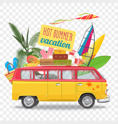 Summer travel with bus beach vector