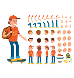 Teenager male person character creation set vector