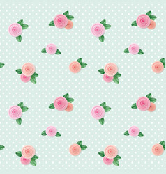 vintage seamless pattern with roses on polka dots vector image vector image
