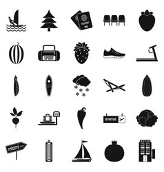 Water sports icons set simple style vector