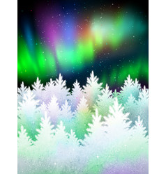Winter landscape background with northern lights vector