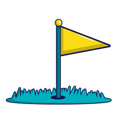 Yellow golf flag icon cartoon style vector